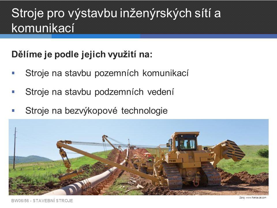 Stroje pro výstavbu inženýrských sítí a komunikací Dělíme je podle jejich využití na:  Stroje na stavbu pozemních komunikací  Stroje na stavbu podze
