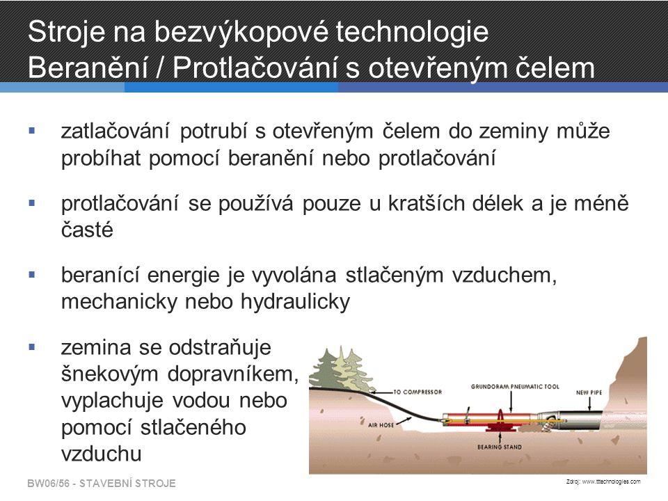 Stroje na bezvýkopové technologie Beranění / Protlačování s otevřeným čelem  zatlačování potrubí s otevřeným čelem do zeminy může probíhat pomocí beranění nebo protlačování  protlačování se používá pouze u kratších délek a je méně časté  beranící energie je vyvolána stlačeným vzduchem, mechanicky nebo hydraulicky  zemina se odstraňuje šnekovým dopravníkem, vyplachuje vodou nebo pomocí stlačeného vzduchu BW06/56 - STAVEBNÍ STROJE Zdroj: www.tttechnologies.com