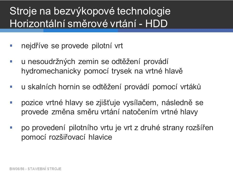 Stroje na bezvýkopové technologie Horizontální směrové vrtání - HDD  nejdříve se provede pilotní vrt  u nesoudržných zemin se odtěžení provádí hydro