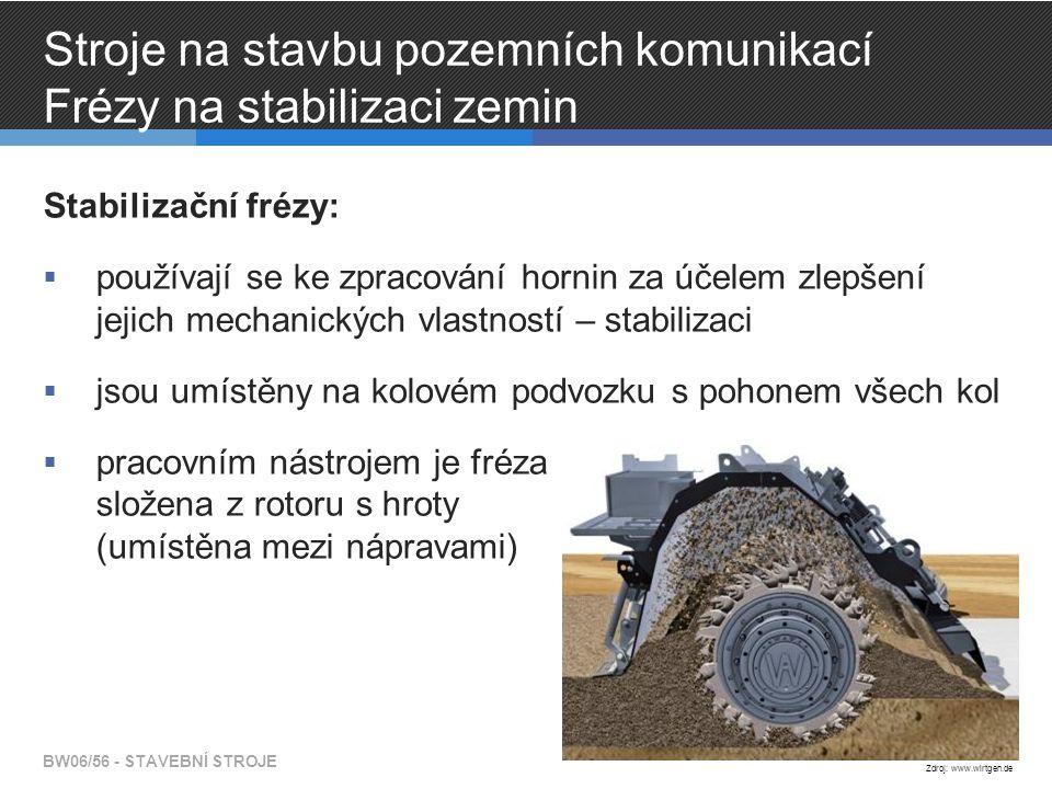 Stroje na stavbu pozemních komunikací Frézy na stabilizaci zemin Stabilizační frézy:  používají se ke zpracování hornin za účelem zlepšení jejich mec