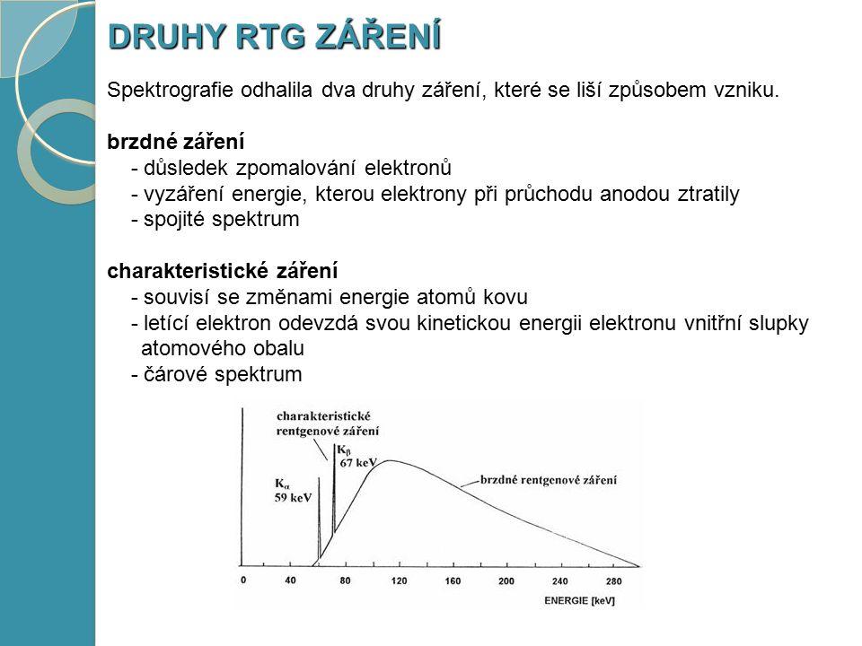 Spektrografie odhalila dva druhy záření, které se liší způsobem vzniku. brzdné záření - důsledek zpomalování elektronů - důsledek zpomalování elektron