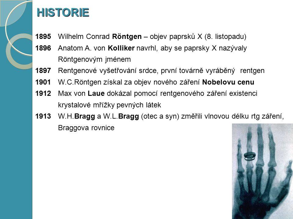 1895 Wilhelm Conrad Röntgen – objev paprsků X (8. listopadu) 1896Anatom A. von Kolliker navrhl, aby se paprsky X nazývaly Röntgenovým jménem 1897 Rent