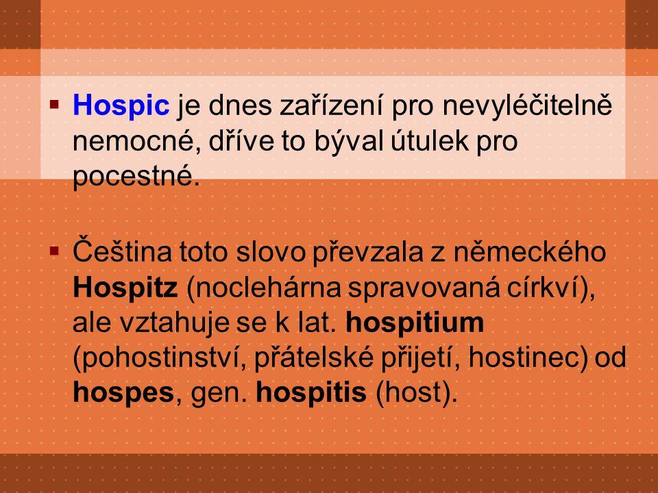  Hospic je dnes zařízení pro nevyléčitelně nemocné, dříve to býval útulek pro pocestné.