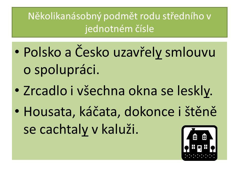 Několikanásobný podmět rodu středního v jednotném čísle Polsko a Česko uzavřely smlouvu o spolupráci. Zrcadlo i všechna okna se leskly. Housata, káčat
