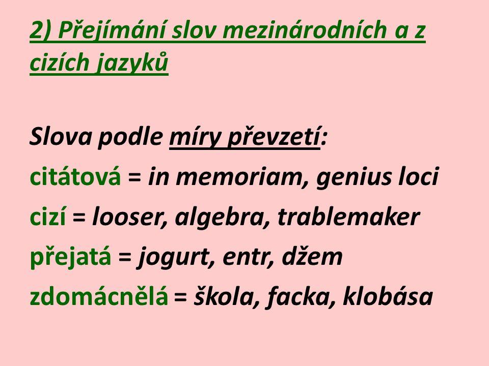 2) Přejímání slov mezinárodních a z cizích jazyků Slova podle míry převzetí: citátová = in memoriam, genius loci cizí = looser, algebra, trablemaker přejatá = jogurt, entr, džem zdomácnělá = škola, facka, klobása