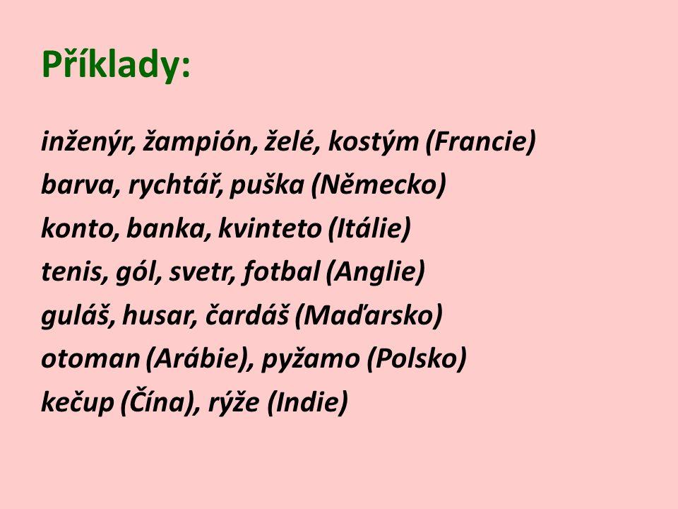 Příklady: inženýr, žampión, želé, kostým (Francie) barva, rychtář, puška (Německo) konto, banka, kvinteto (Itálie) tenis, gól, svetr, fotbal (Anglie) guláš, husar, čardáš (Maďarsko) otoman (Arábie), pyžamo (Polsko) kečup (Čína), rýže (Indie)