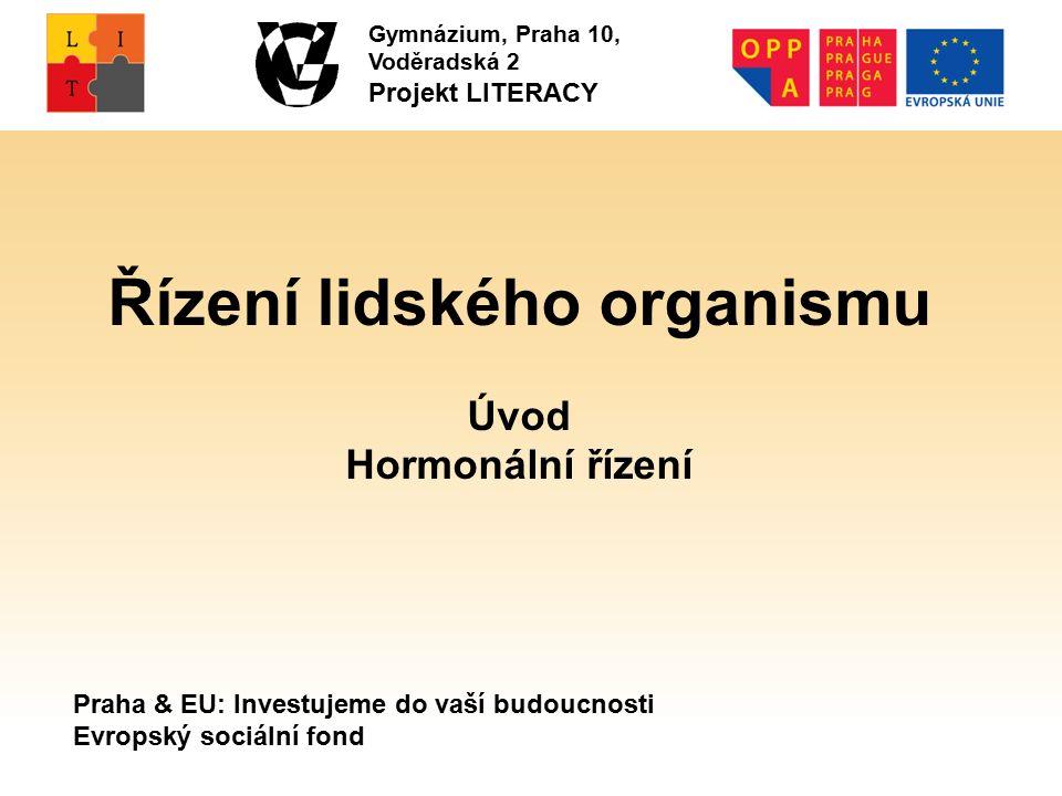 Praha & EU: Investujeme do vaší budoucnosti Evropský sociální fond Gymnázium, Praha 10, Voděradská 2 Projekt LITERACY Řízení lidského organismu Úvod Hormonální řízení
