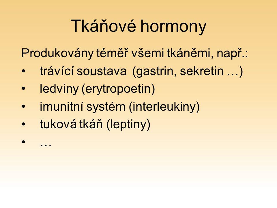 Tkáňové hormony Produkovány téměř všemi tkáněmi, např.: trávící soustava(gastrin, sekretin …) ledviny (erytropoetin) imunitní systém (interleukiny) tuková tkáň (leptiny) …