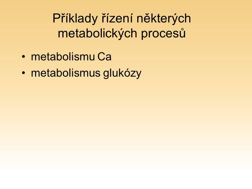 Příklady řízení některých metabolických procesů metabolismu Ca metabolismus glukózy