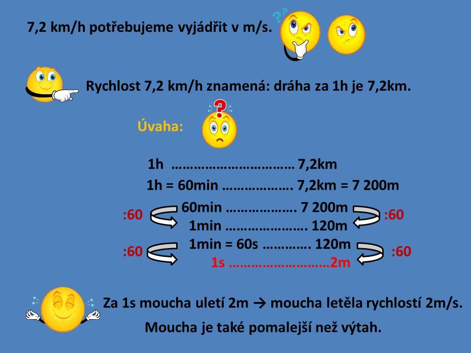 7,2 km/h potřebujeme vyjádřit v m/s. Rychlost 7,2 km/h znamená: dráha za 1h je 7,2km.