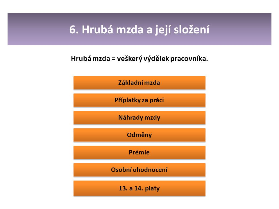6. Hrubá mzda a její složení Hrubá mzda = veškerý výdělek pracovníka.