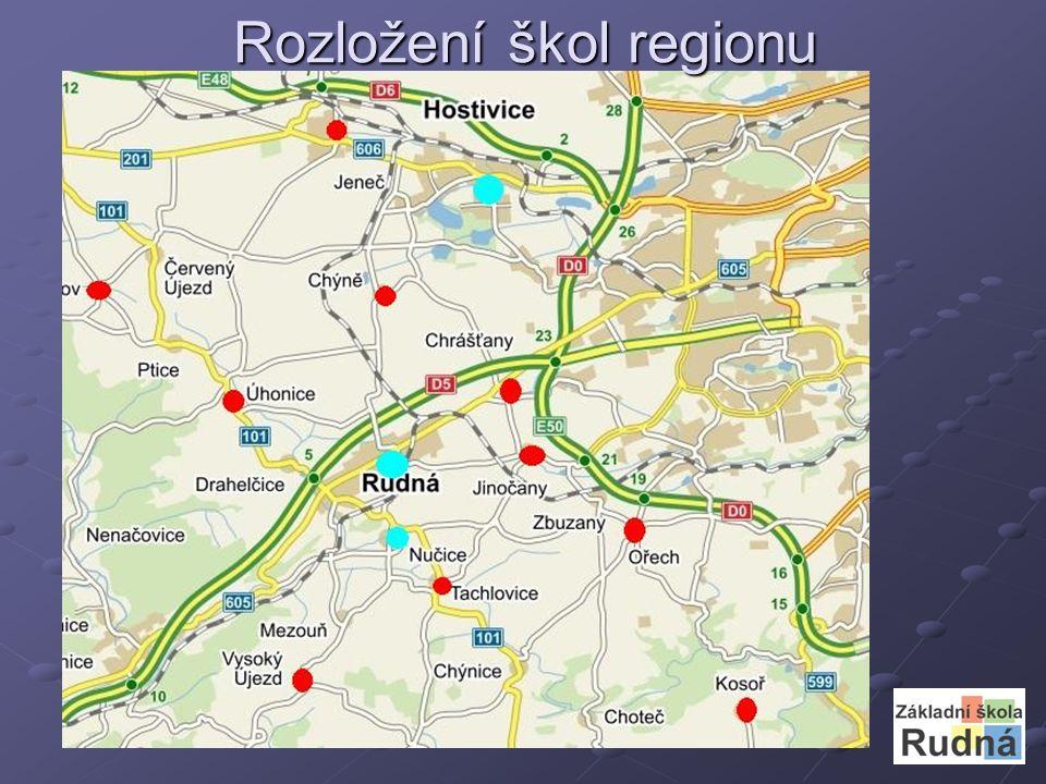 Rozložení škol regionu
