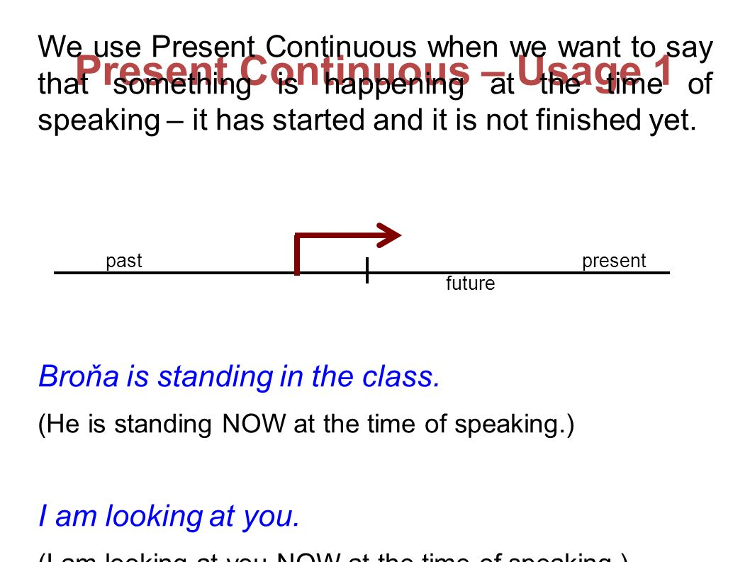 Present Continuous – Usage 1 We use Present Continuous when we want to say that something is happening at the time of speaking – it has started and it is not finished yet.