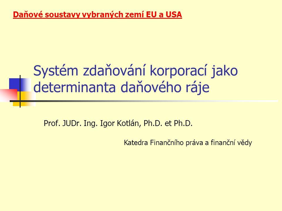 Systém zdaňování korporací jako determinanta daňového ráje Prof.