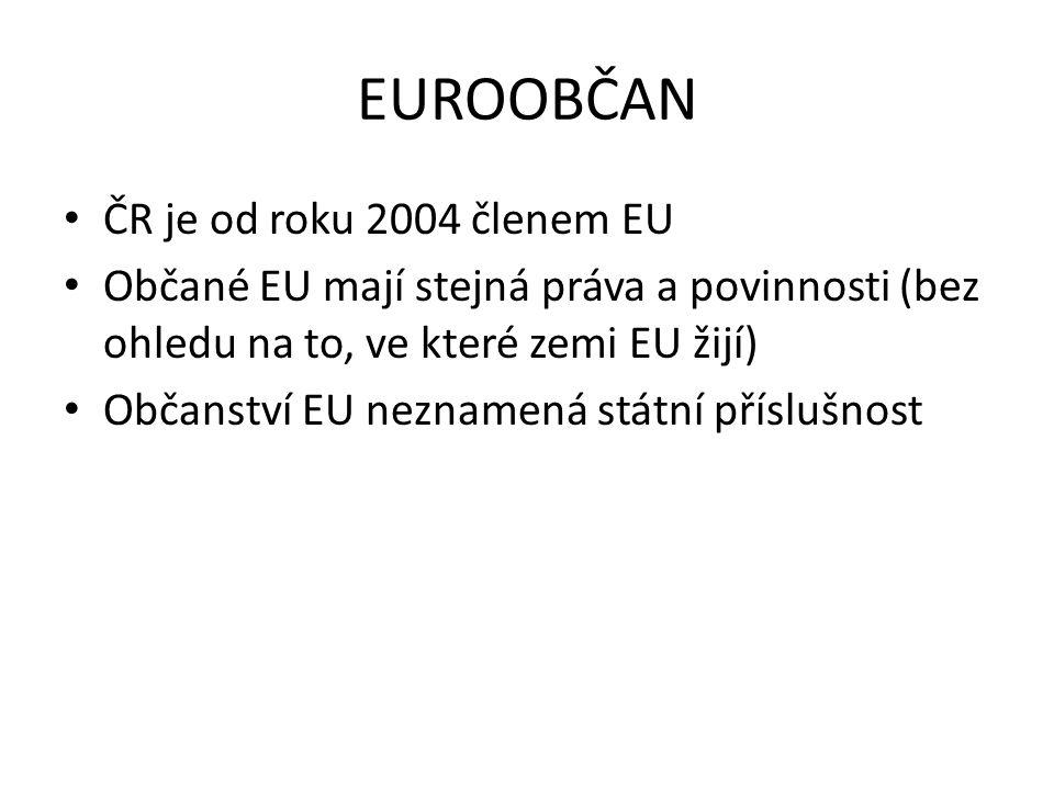 EUROOBČAN ČR je od roku 2004 členem EU Občané EU mají stejná práva a povinnosti (bez ohledu na to, ve které zemi EU žijí) Občanství EU neznamená státní příslušnost