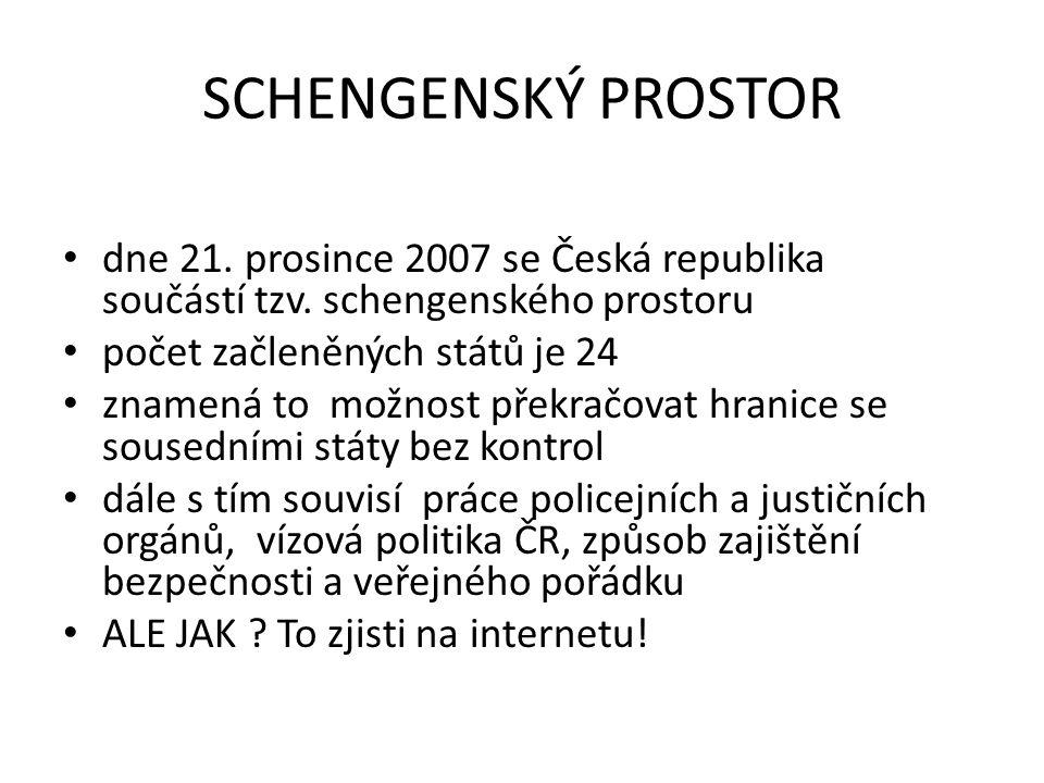 SCHENGENSKÝ PROSTOR dne 21.prosince 2007 se Česká republika součástí tzv.