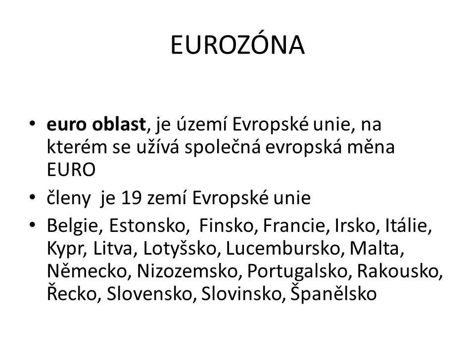 EUROZÓNA euro oblast, je území Evropské unie, na kterém se užívá společná evropská měna EURO členy je 19 zemí Evropské unie Belgie, Estonsko, Finsko, Francie, Irsko, Itálie, Kypr, Litva, Lotyšsko, Lucembursko, Malta, Německo, Nizozemsko, Portugalsko, Rakousko, Řecko, Slovensko, Slovinsko, Španělsko