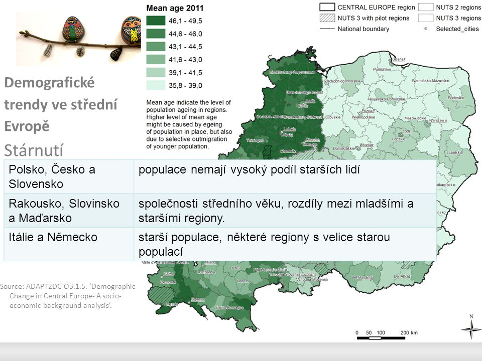 Demografické trendy ve střední Evropě Stárnutí Source: ADAPT2DC O3.1.5.