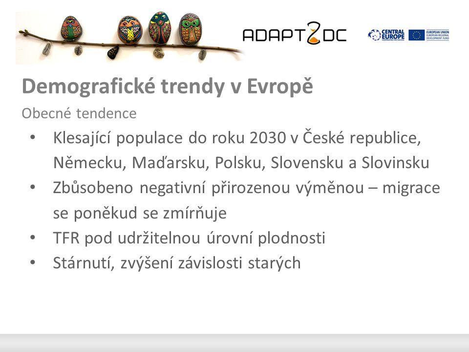 Demografické trendy v Evropě Obecné tendence Klesající populace do roku 2030 v České republice, Německu, Maďarsku, Polsku, Slovensku a Slovinsku Zbůsobeno negativní přirozenou výměnou – migrace se poněkud se zmírňuje TFR pod udržitelnou úrovní plodnosti Stárnutí, zvýšení závislosti starých