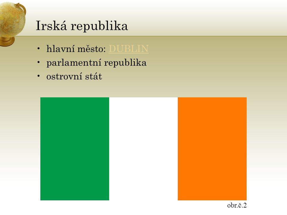 Irská republika hlavní město: DUBLINDUBLIN parlamentní republika ostrovní stát obr.č.2
