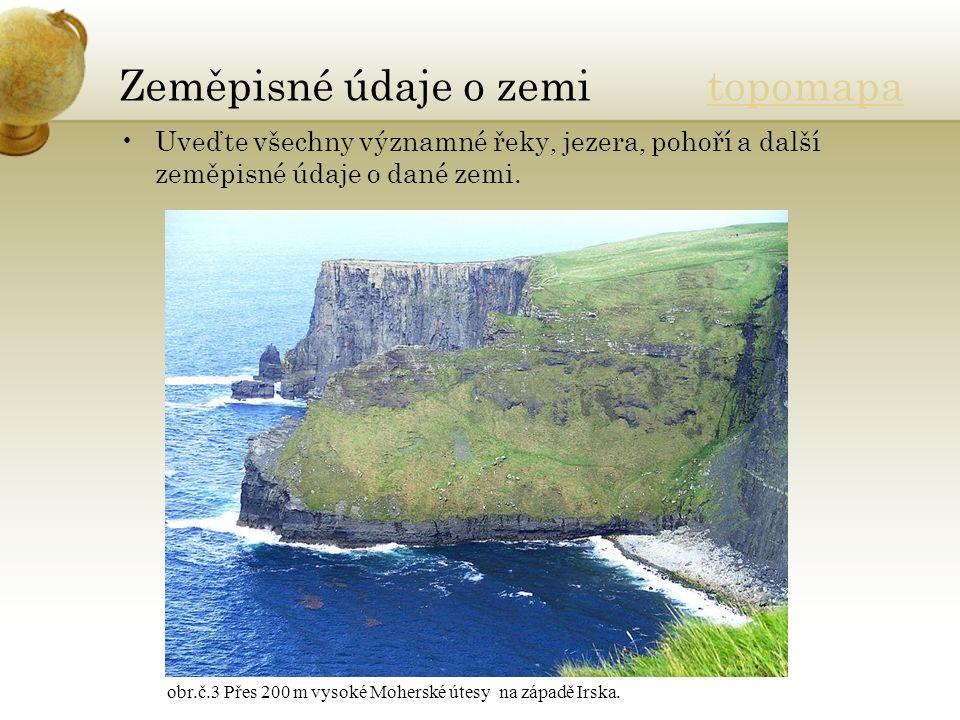 Zeměpisné údaje o zemi topomapatopomapa Uveďte všechny významné řeky, jezera, pohoří a další zeměpisné údaje o dané zemi. obr.č.3 Přes 200 m vysoké Mo
