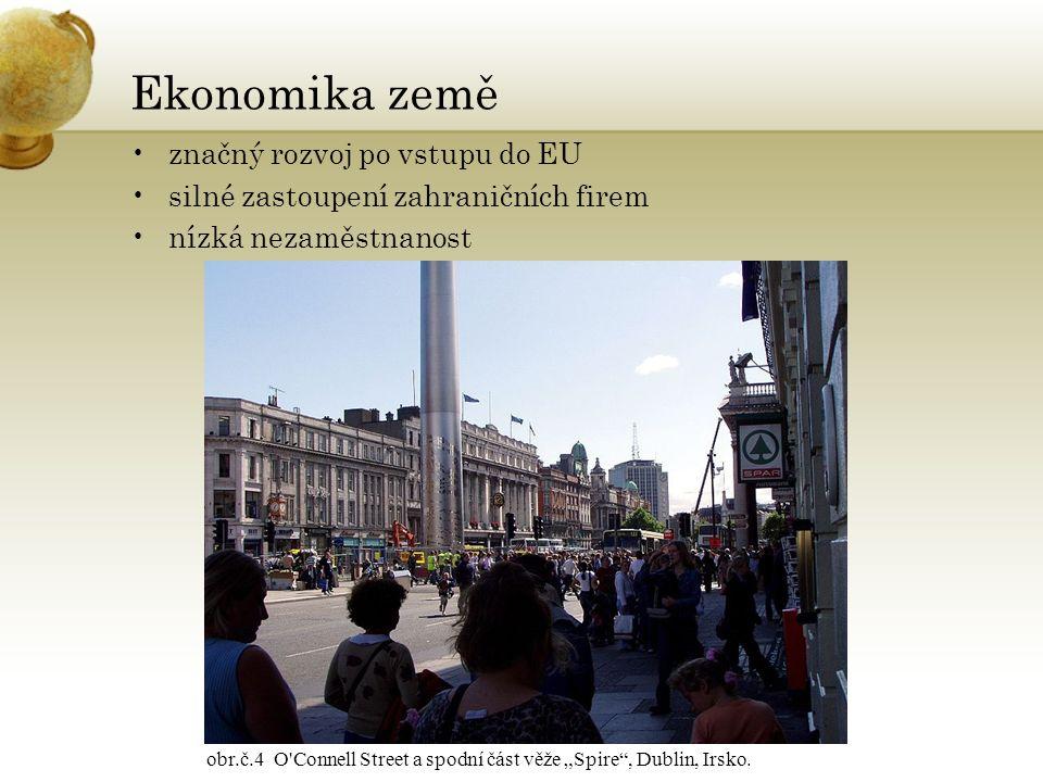 """Ekonomika země značný rozvoj po vstupu do EU silné zastoupení zahraničních firem nízká nezaměstnanost obr.č.4 O'Connell Street a spodní část věže """"Spi"""