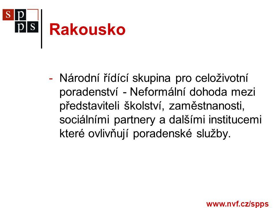 www.nvf.cz/spps Rakousko -Národní řídící skupina pro celoživotní poradenství - Neformální dohoda mezi představiteli školství, zaměstnanosti, sociálními partnery a dalšími institucemi které ovlivňují poradenské služby.