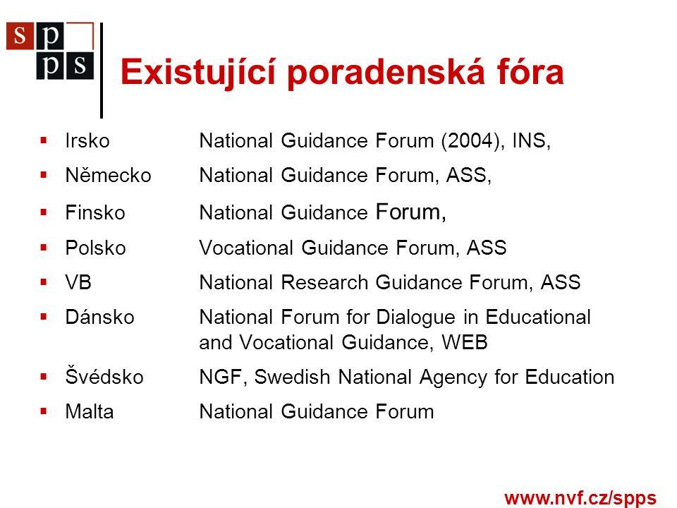  IrskoNational Guidance Forum (2004), INS,  NěmeckoNational Guidance Forum, ASS,  FinskoNational Guidance Forum,  PolskoVocational Guidance Forum, ASS  VBNational Research Guidance Forum, ASS  DánskoNational Forum for Dialogue in Educational and Vocational Guidance, WEB  ŠvédskoNGF, Swedish National Agency for Education  MaltaNational Guidance Forum Existující poradenská fóra