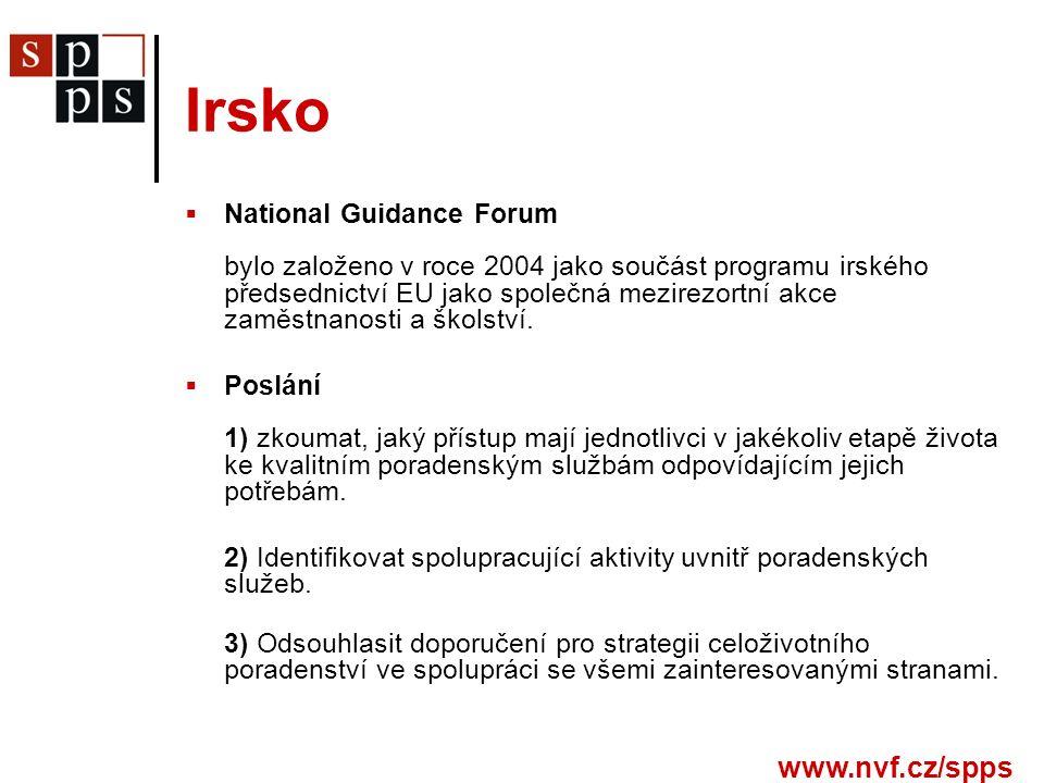 www.nvf.cz/spps Irsko  National Guidance Forum bylo založeno v roce 2004 jako součást programu irského předsednictví EU jako společná mezirezortní akce zaměstnanosti a školství.