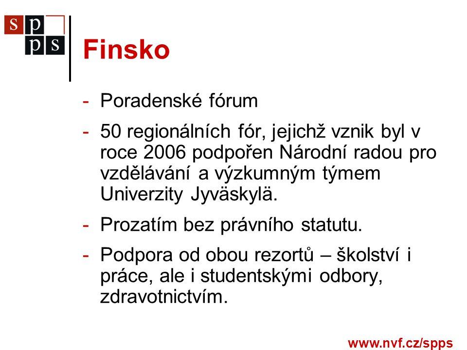 www.nvf.cz/spps Finsko -Poradenské fórum -50 regionálních fór, jejichž vznik byl v roce 2006 podpořen Národní radou pro vzdělávání a výzkumným týmem Univerzity Jyväskylä.