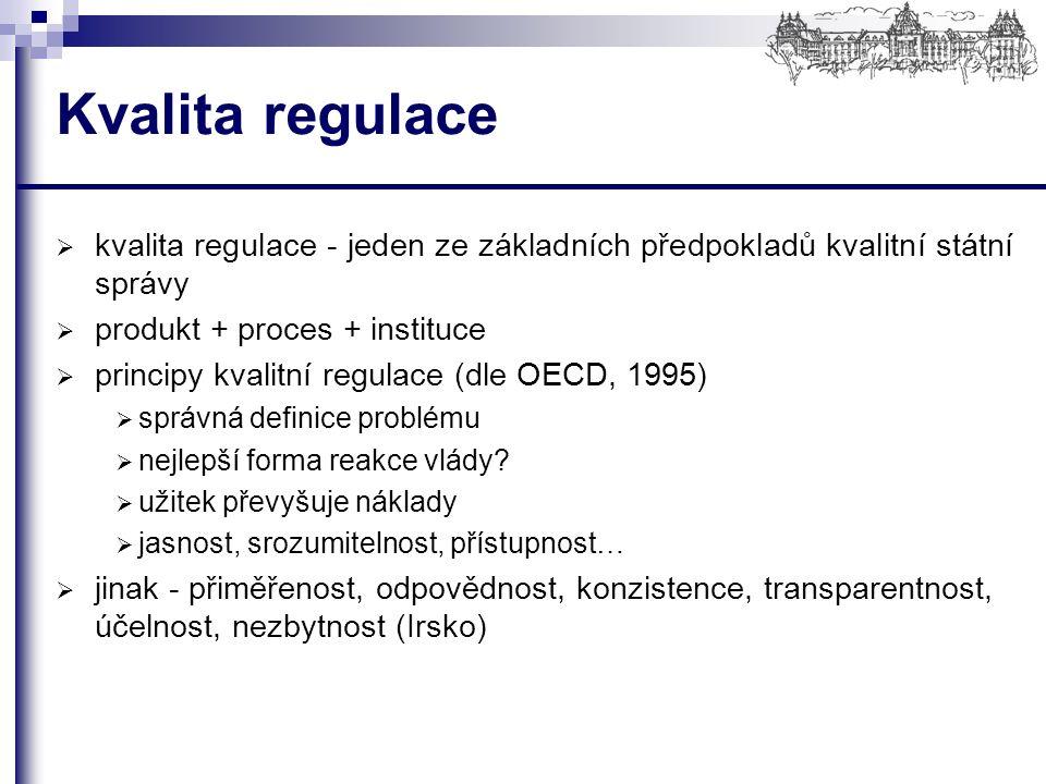 Kvalita regulace  kvalita regulace - jeden ze základních předpokladů kvalitní státní správy  produkt + proces + instituce  principy kvalitní regulace (dle OECD, 1995)  správná definice problému  nejlepší forma reakce vlády.