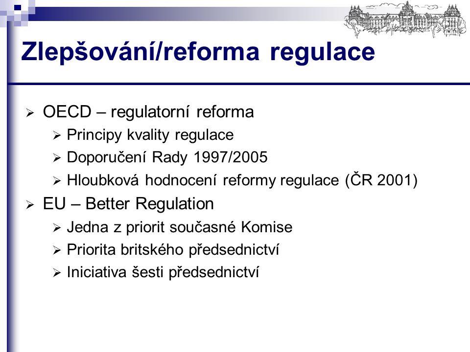 Zlepšování/reforma regulace  OECD – regulatorní reforma  Principy kvality regulace  Doporučení Rady 1997/2005  Hloubková hodnocení reformy regulace (ČR 2001)  EU – Better Regulation  Jedna z priorit současné Komise  Priorita britského předsednictví  Iniciativa šesti předsednictví
