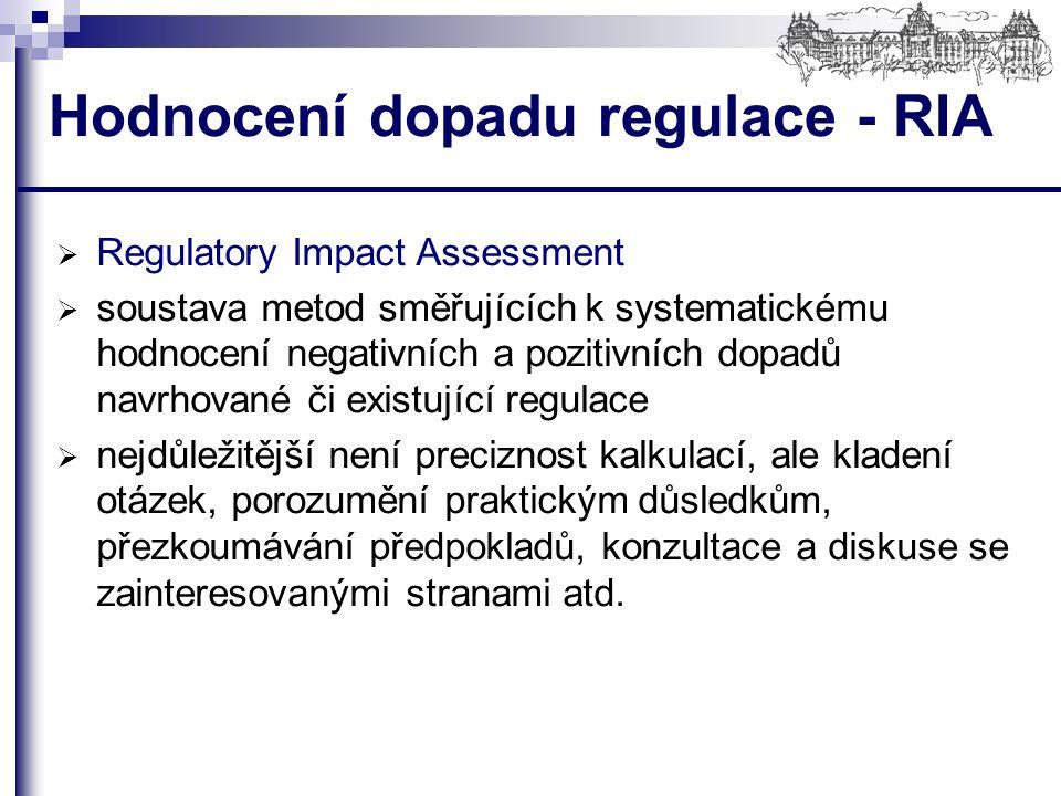 Hodnocení dopadu regulace - RIA  Regulatory Impact Assessment  soustava metod směřujících k systematickému hodnocení negativních a pozitivních dopadů navrhované či existující regulace  nejdůležitější není preciznost kalkulací, ale kladení otázek, porozumění praktickým důsledkům, přezkoumávání předpokladů, konzultace a diskuse se zainteresovanými stranami atd.