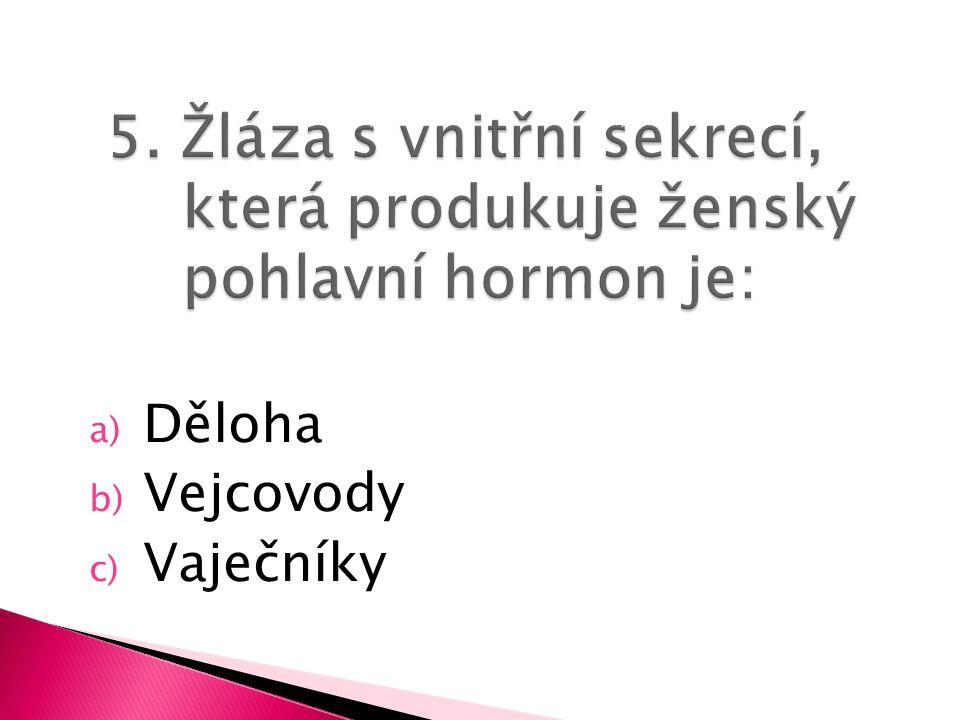 a) Děloha b) Vejcovody c) Vaječníky