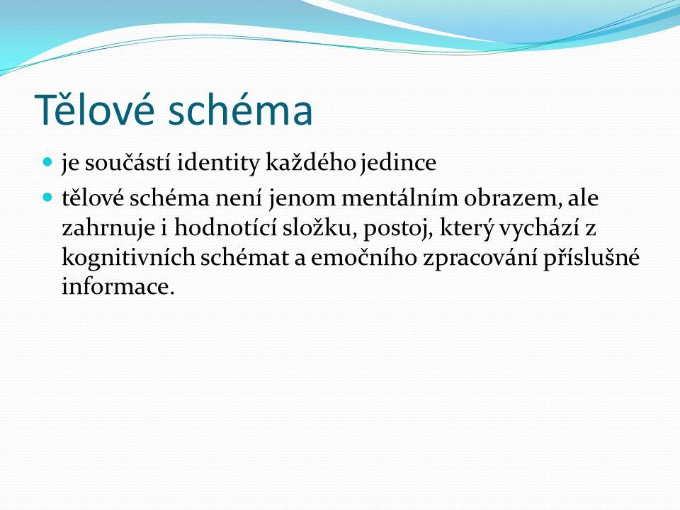Tělové schéma je součástí identity každého jedince tělové schéma není jenom mentálním obrazem, ale zahrnuje i hodnotící složku, postoj, který vychází z kognitivních schémat a emočního zpracování příslušné informace.