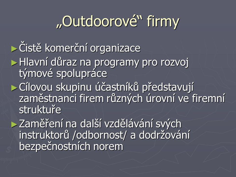 """""""Outdoorové"""" firmy ► Čistě komerční organizace ► Hlavní důraz na programy pro rozvoj týmové spolupráce ► Cílovou skupinu účastníků představují zaměstn"""