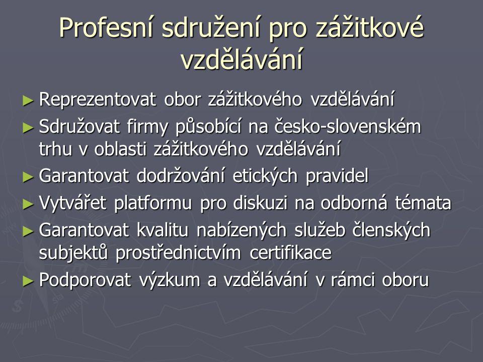 Profesní sdružení pro zážitkové vzdělávání ► Reprezentovat obor zážitkového vzdělávání ► Sdružovat firmy působící na česko-slovenském trhu v oblasti zážitkového vzdělávání ► Garantovat dodržování etických pravidel ► Vytvářet platformu pro diskuzi na odborná témata ► Garantovat kvalitu nabízených služeb členských subjektů prostřednictvím certifikace ► Podporovat výzkum a vzdělávání v rámci oboru
