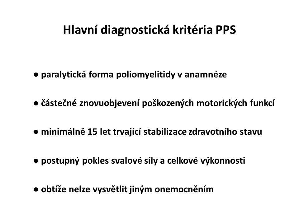 Hlavní diagnostická kritéria PPS ● paralytická forma poliomyelitidy v anamnéze ● částečné znovuobjevení poškozených motorických funkcí ● minimálně 15 let trvající stabilizace zdravotního stavu ● postupný pokles svalové síly a celkové výkonnosti ● obtíže nelze vysvětlit jiným onemocněním