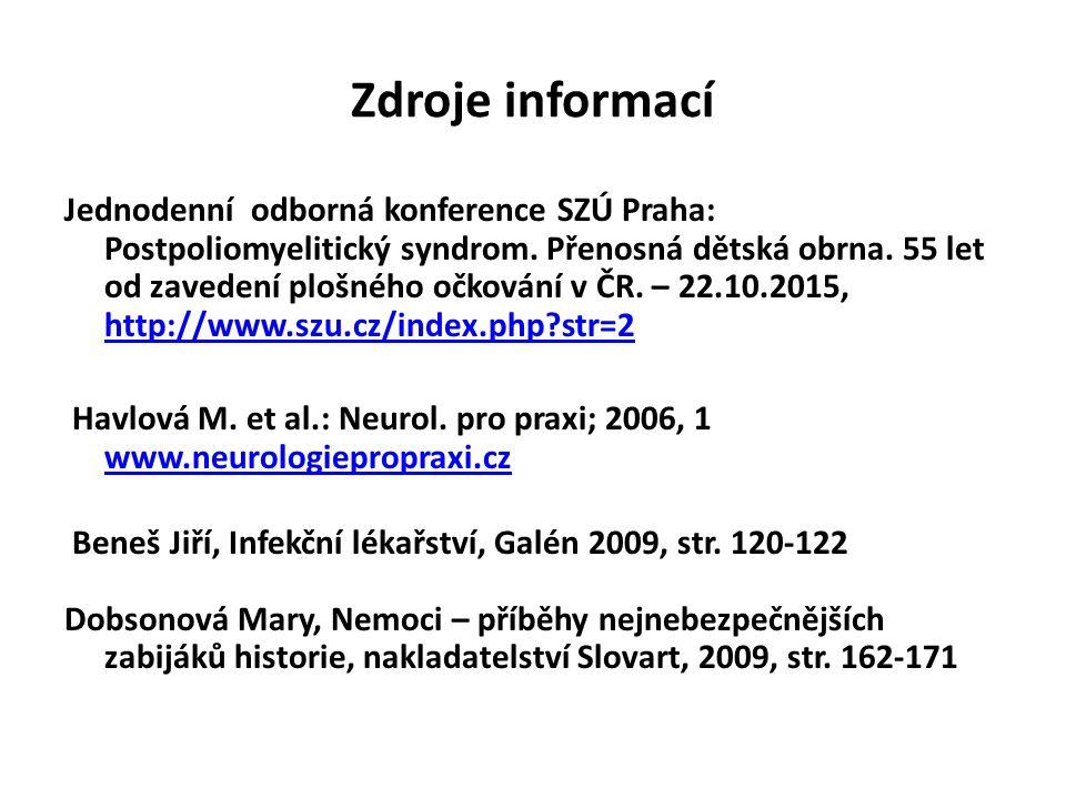 Zdroje informací Jednodenní odborná konference SZÚ Praha: Postpoliomyelitický syndrom.