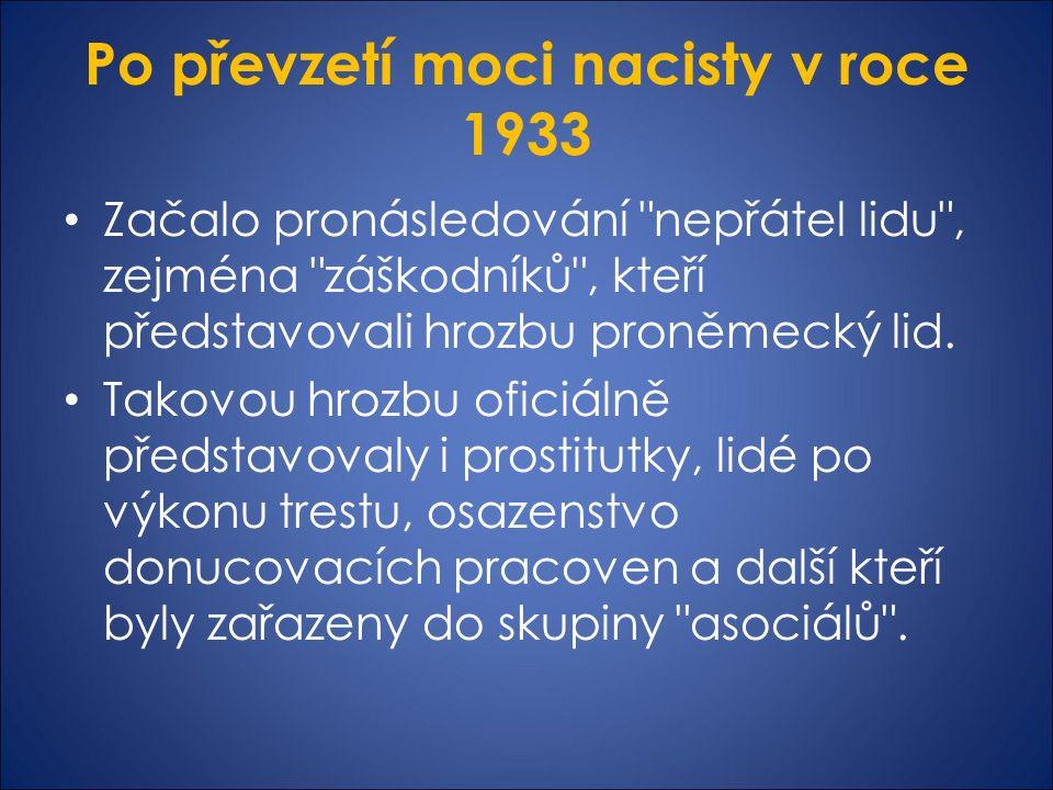 Po převzetí moci nacisty v roce 1933 Začalo pronásledování nepřátel lidu , zejména záškodníků , kteří představovali hrozbu proněmecký lid.