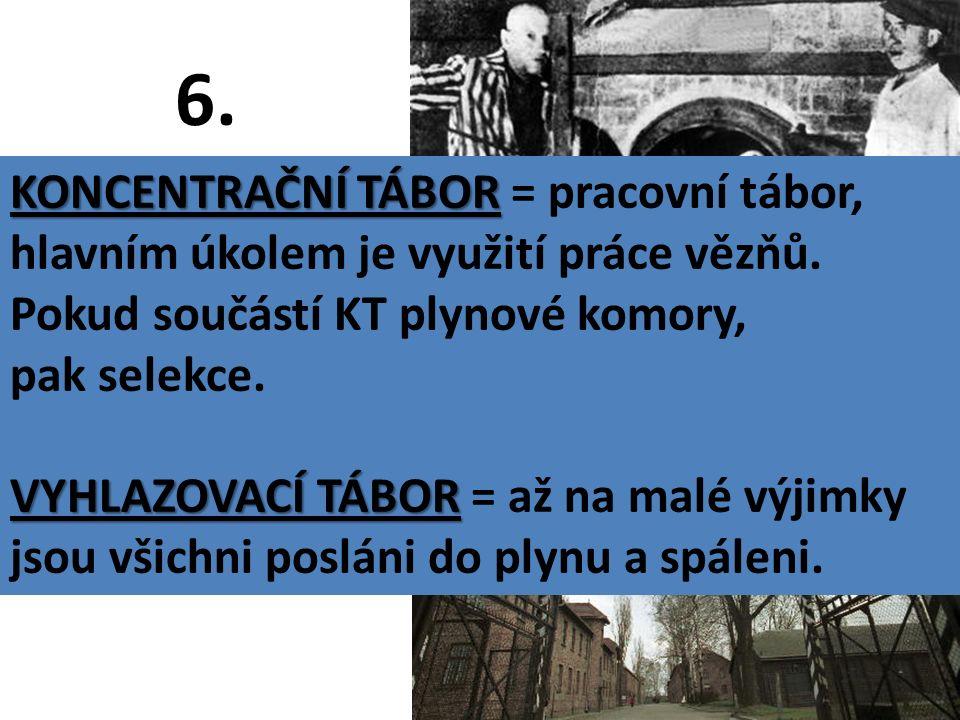 6. Jaký je rozdíl mezi KONCENTRAČNÍM a VYHLAZOVACÍM TÁBOREM.