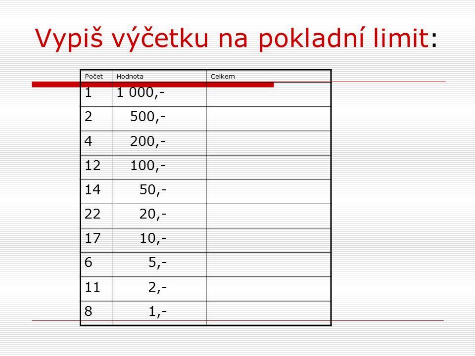 Vypiš výčetku na pokladní limit: PočetHodnotaCelkem 11 000,- 2 500,- 4 200,- 12 100,- 14 50,- 22 20,- 17 10,- 6 5,- 11 2,- 8 1,-