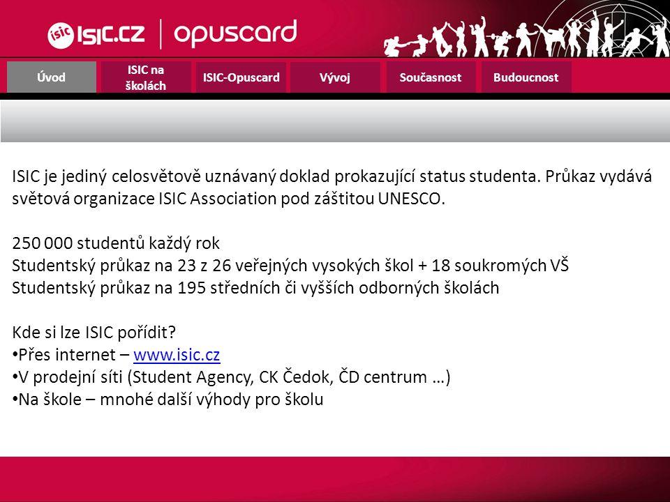 Úvod ISIC na školách ISIC-OpuscardVývoj SoučasnostBudoucnost ISIC je jediný celosvětově uznávaný doklad prokazující status studenta. Průkaz vydává svě