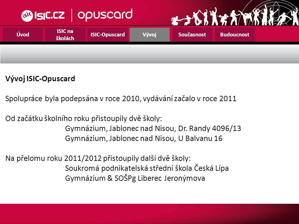 Úvod ISIC na školách ISIC-OpuscardVývoj SoučasnostBudoucnost Vývoj ISIC-Opuscard Spolupráce byla podepsána v roce 2010, vydávání začalo v roce 2011 Od