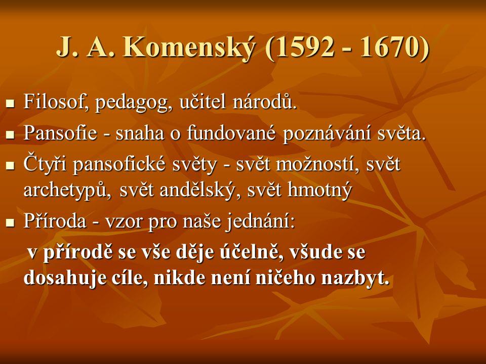 J. A. Komenský (1592 - 1670) Filosof, pedagog, učitel národů.
