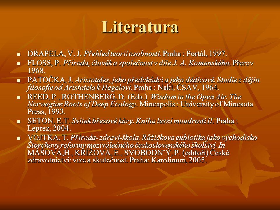 Literatura DRAPELA, V. J. Přehled teorií osobnosti.