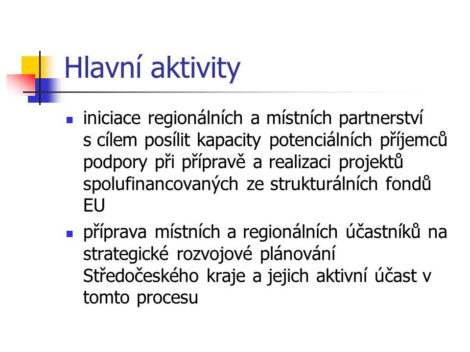 Hlavní aktivity iniciace regionálních a místních partnerství s cílem posílit kapacity potenciálních příjemců podpory při přípravě a realizaci projektů spolufinancovaných ze strukturálních fondů EU příprava místních a regionálních účastníků na strategické rozvojové plánování Středočeského kraje a jejich aktivní účast v tomto procesu