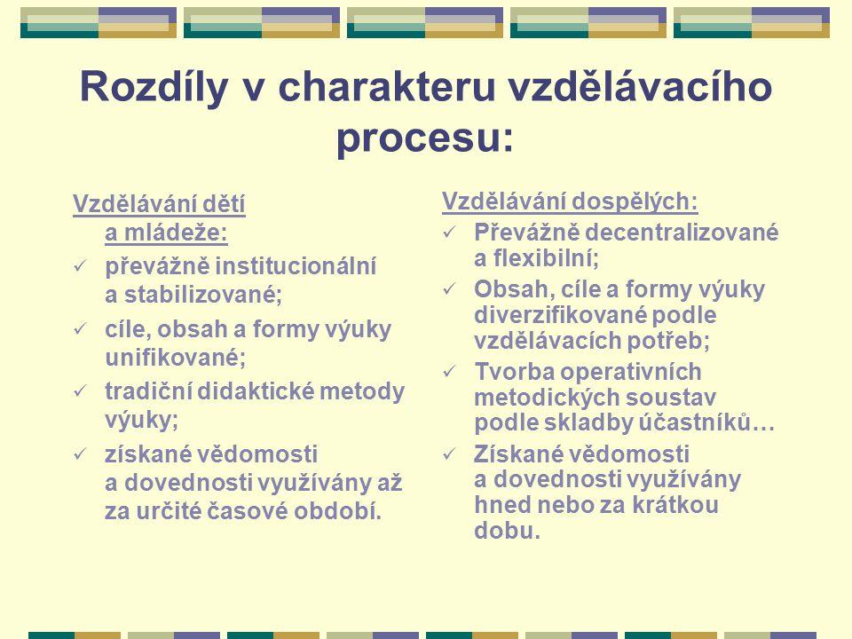 Rozdíly v charakteru vzdělávacího procesu: Vzdělávání dětí a mládeže: převážně institucionální a stabilizované; cíle, obsah a formy výuky unifikované;
