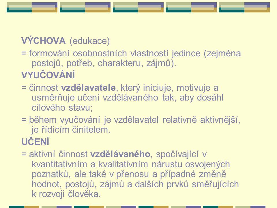 VÝCHOVA (edukace) = formování osobnostních vlastností jedince (zejména postojů, potřeb, charakteru, zájmů).