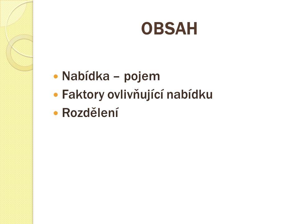 OBSAH Nabídka – pojem Faktory ovlivňující nabídku Rozdělení